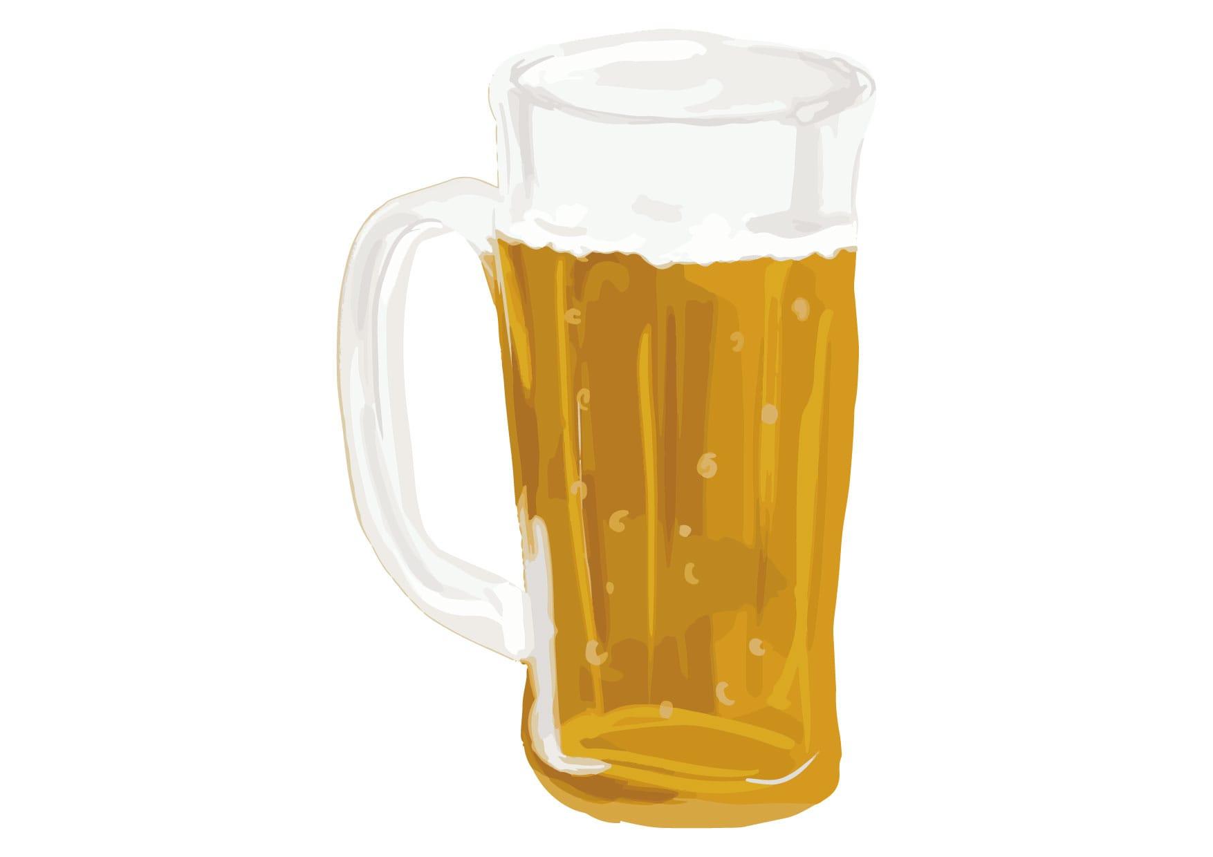 ビール ジョッキ 手書き イラスト 無料