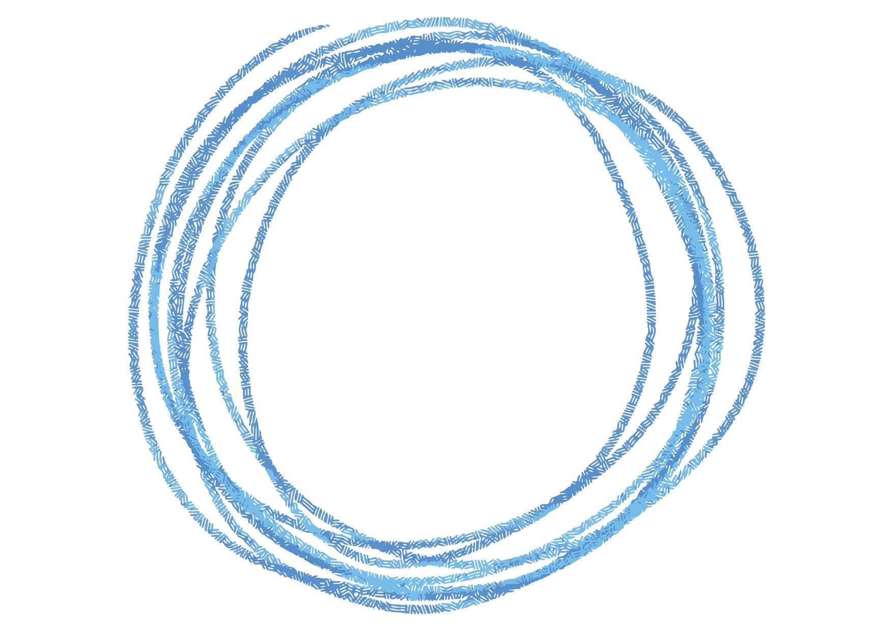 可愛いイラスト無料|円 手書き ラフ 青色 − free illustration Circle handwriting rough blue