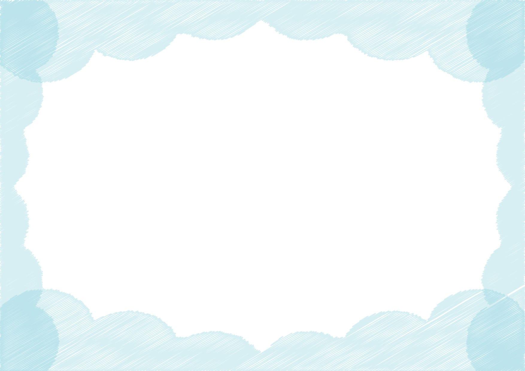 可愛いイラスト|背景 雲 ラフ 青色 − free illustration  Background cloud rough blue