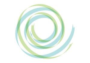 リボン スパイラル 青色 緑色 イラスト 無料