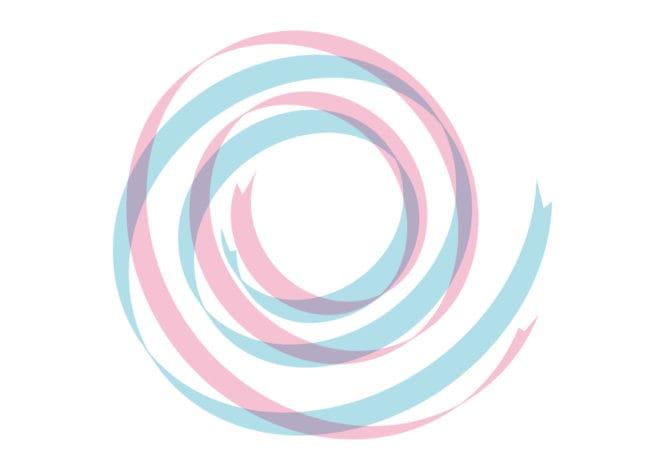 リボン 背景 カール ピンク色 青色 イラスト 無料