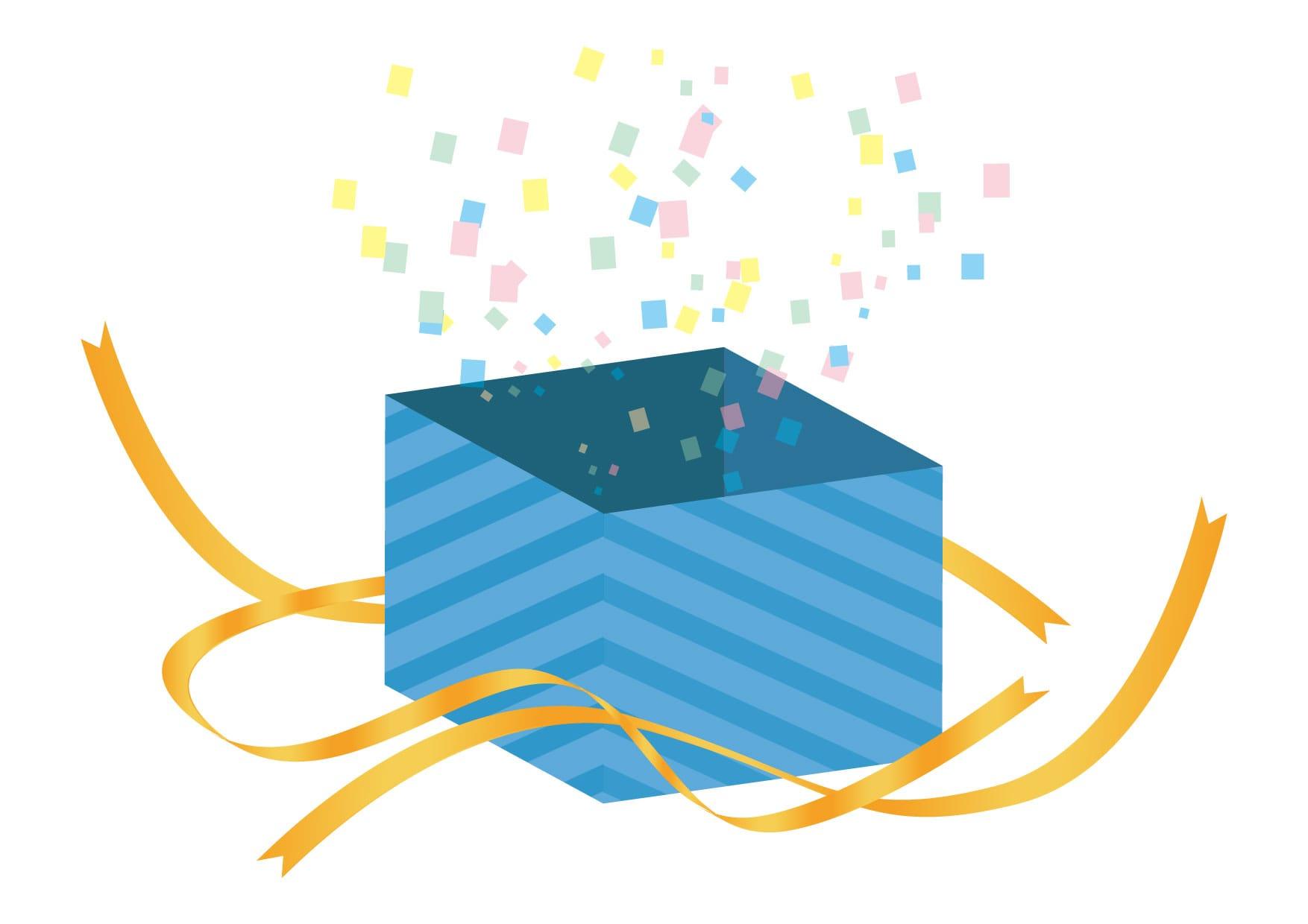 可愛いイラスト無料|サプライズ プレゼント 青色 開く − free illustration Surprise present blue