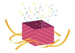 サプライズ プレゼント ピンク色 開く イラスト 無料