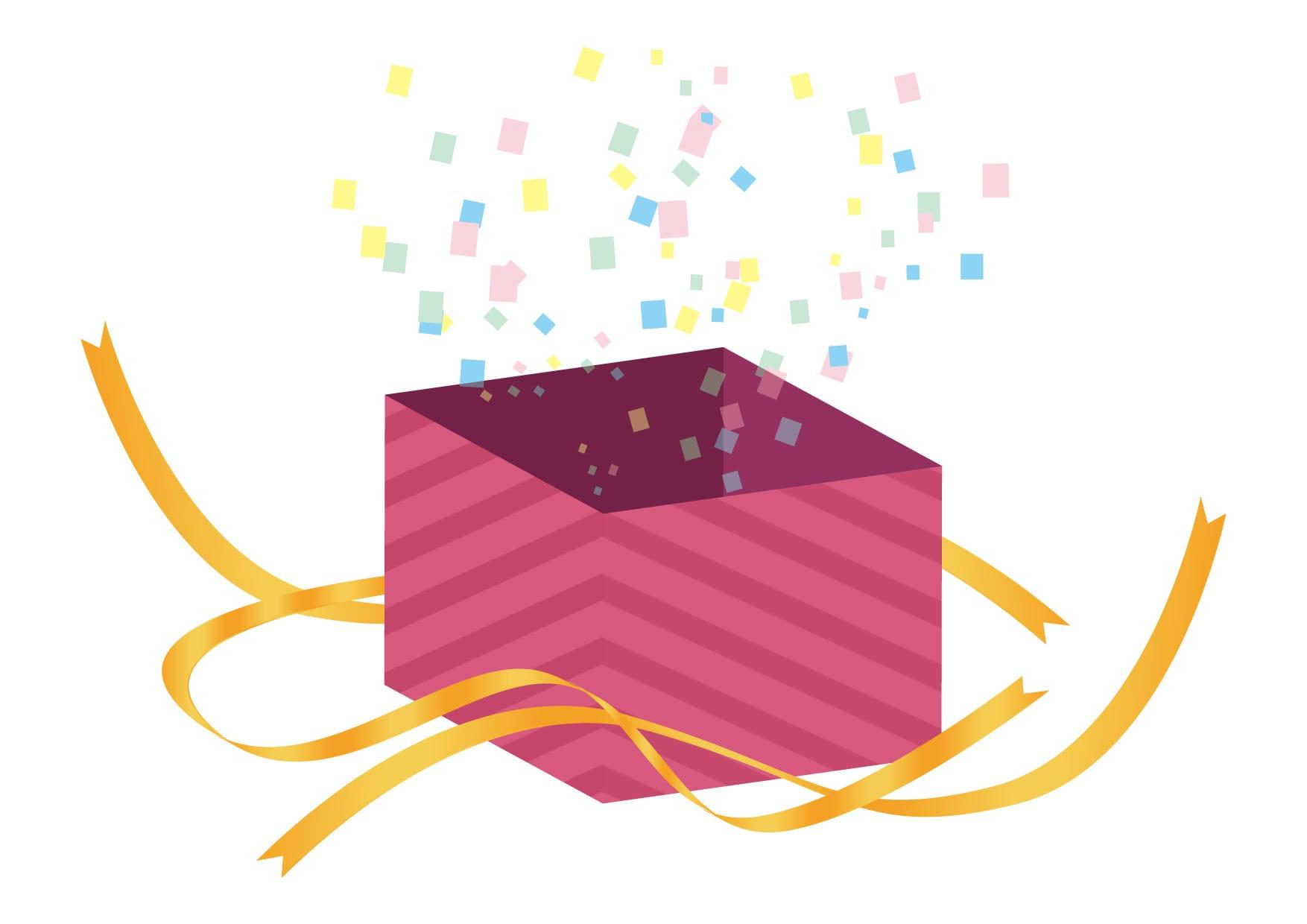 可愛いイラスト無料|サプライズ プレゼント ピンク色 開く − free illustration  Surprise present pink