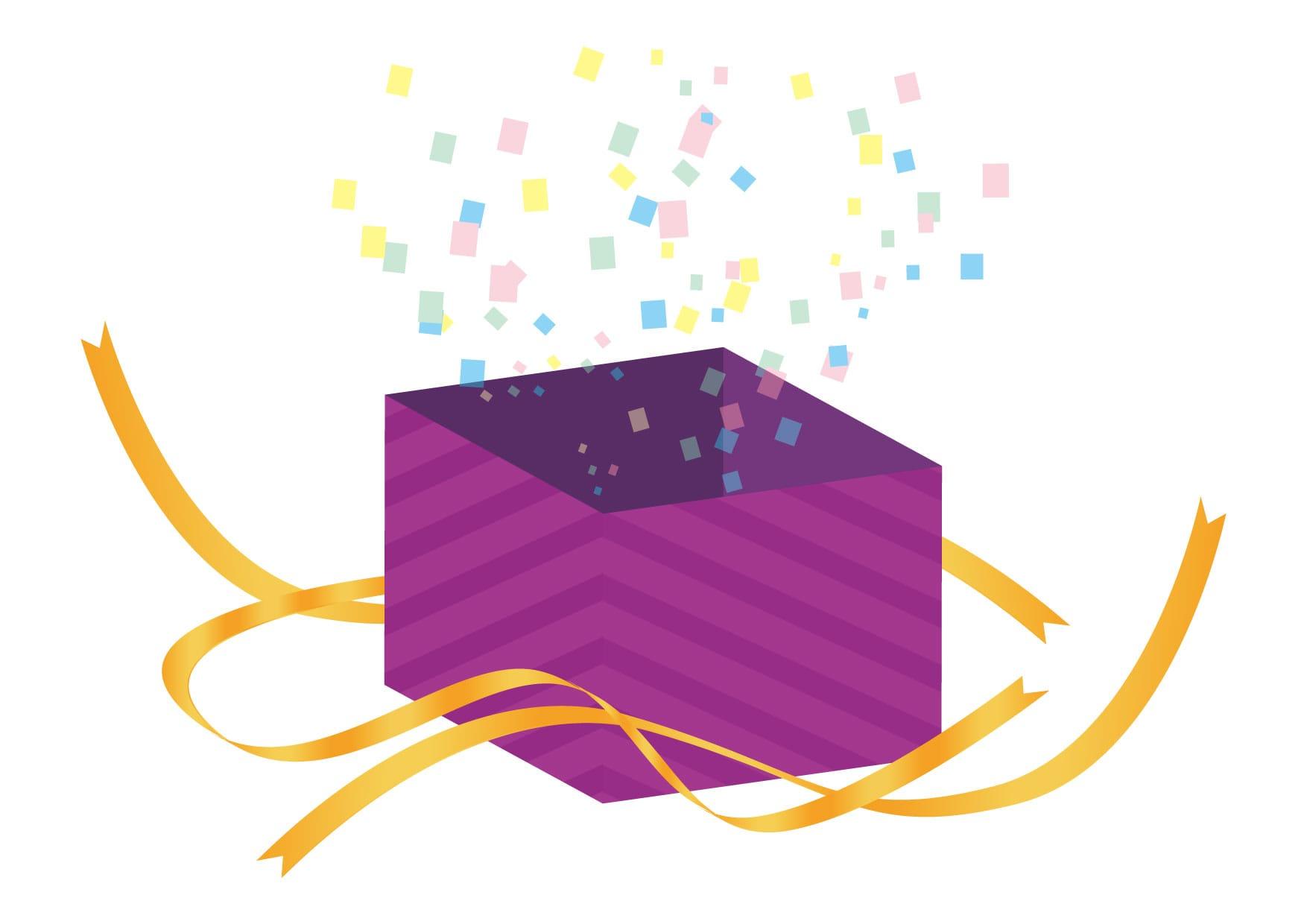 可愛いイラスト無料|サプライズ プレゼント 紫色 開く − free illustration  Surprise present purple