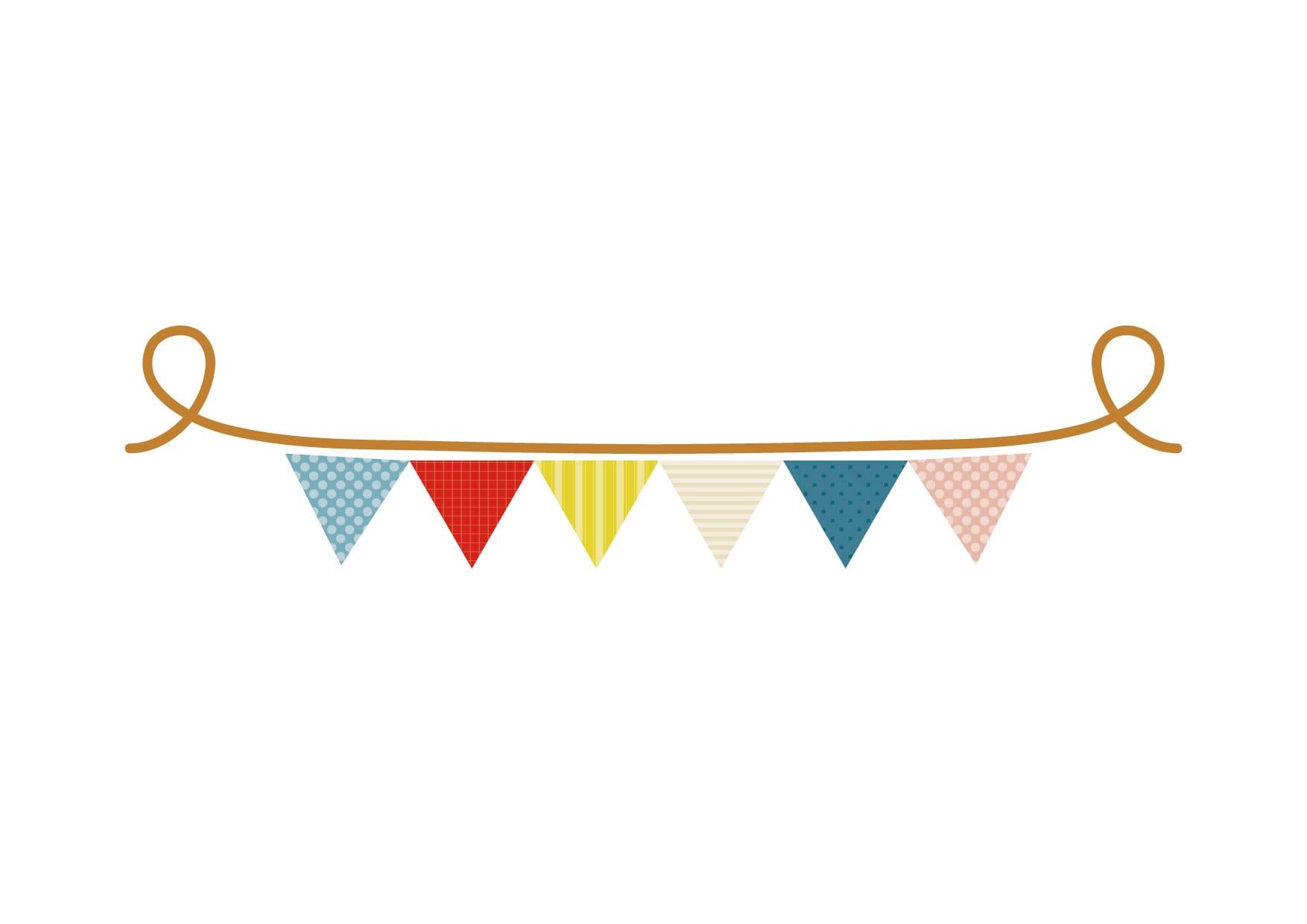 可愛いイラスト無料|フラッグ 三角 かわいい コピースペース − free illustration Flag triangle cute copy space