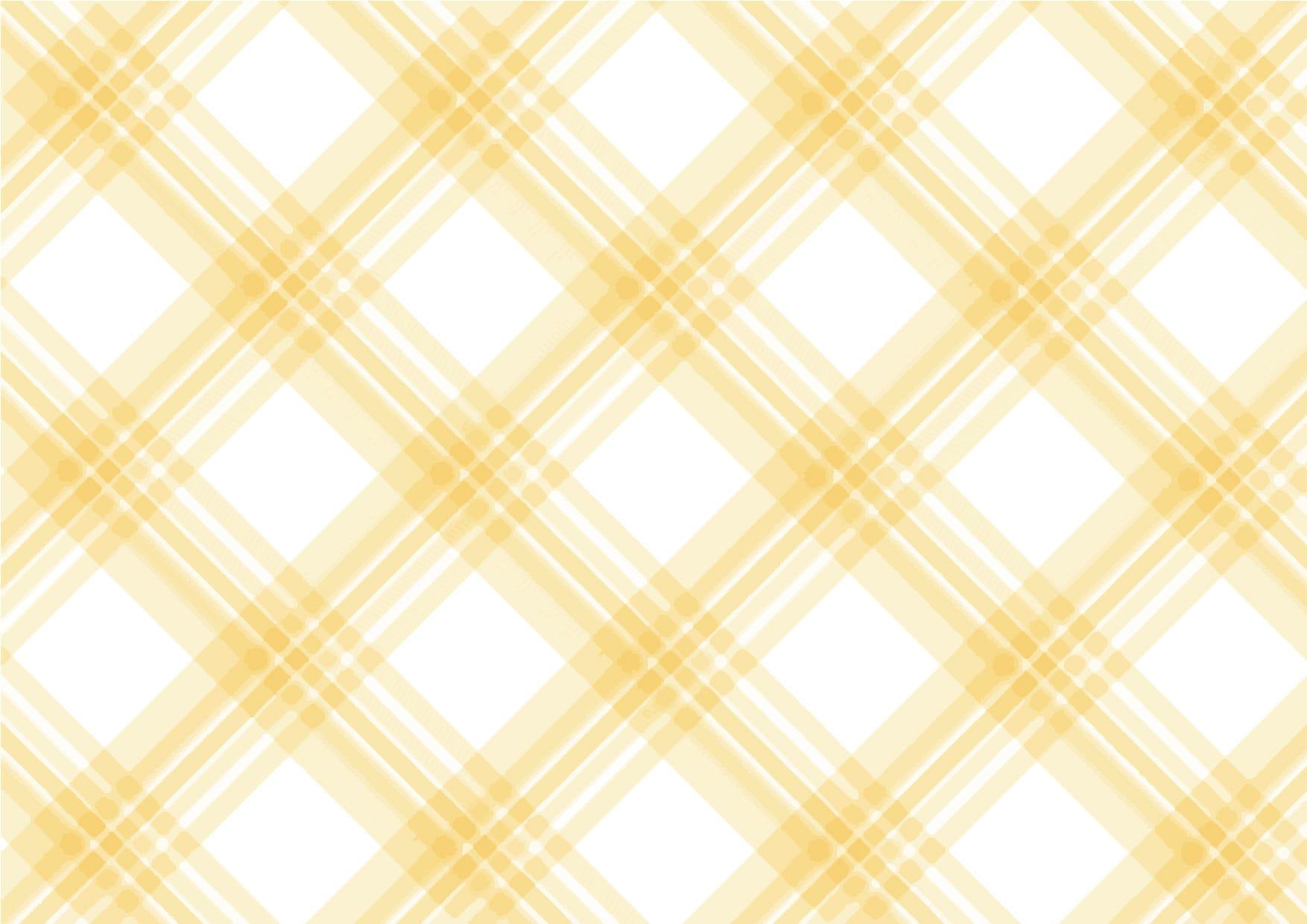 可愛いイラスト|手書き チェック柄 黄色 背景2 − free illustration Handwritten check pattern yellow background