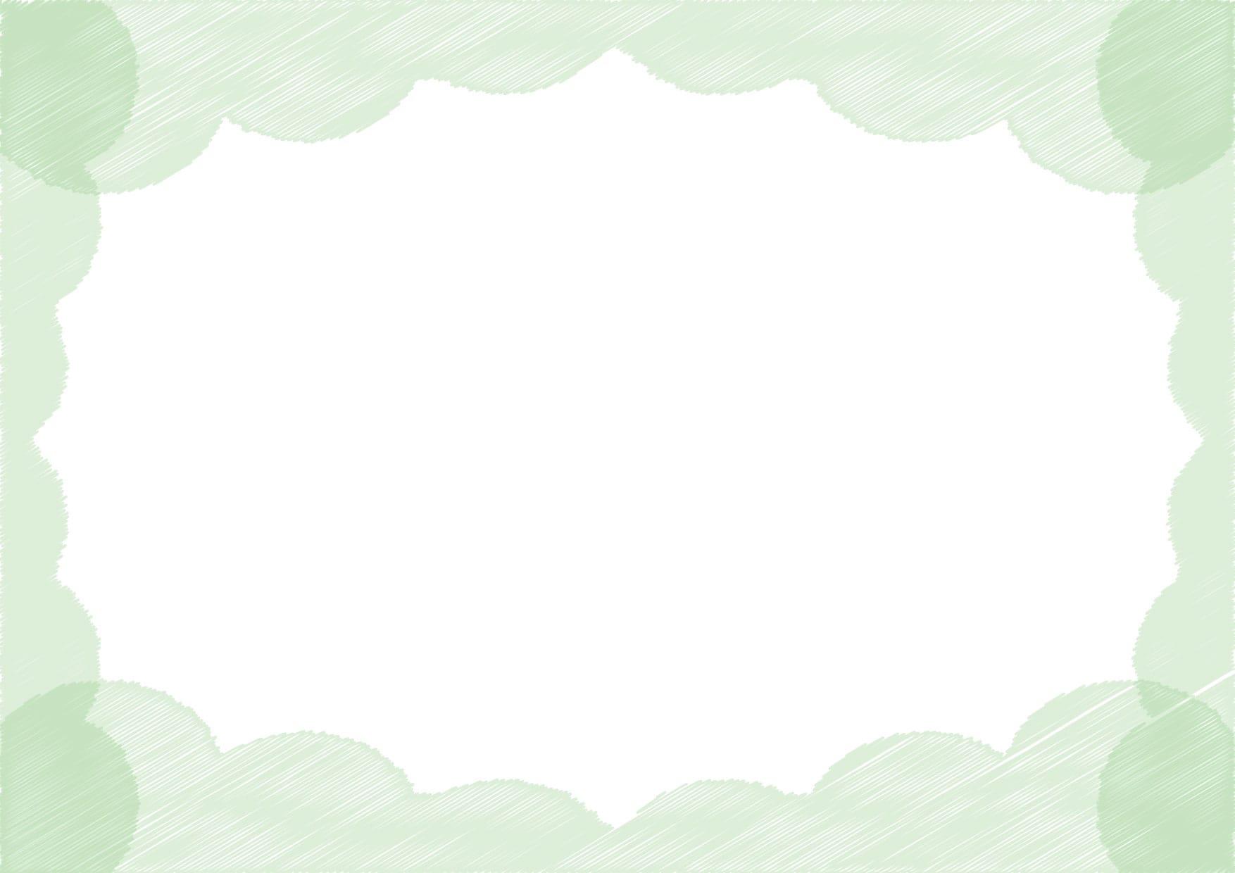 可愛いイラスト無料|背景 雲 ラフ 緑色 − free illustration  Background cloud rough green