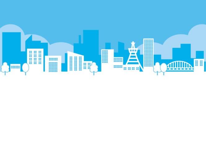 街並み 青色 イラスト 無料