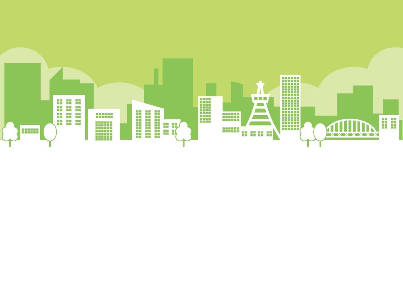 街並み 緑色 イラスト 無料