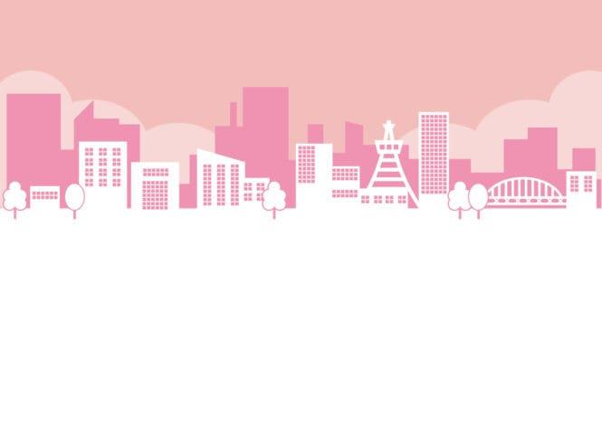 街並み ピンク色 イラスト 無料