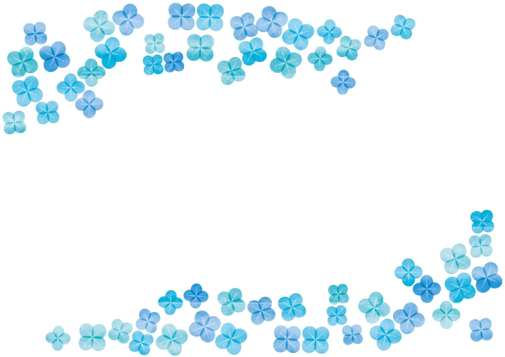 可愛いイラスト無料|あじさい 青色 水彩 背景 − free illustration  Hydrangea blue watercolor background