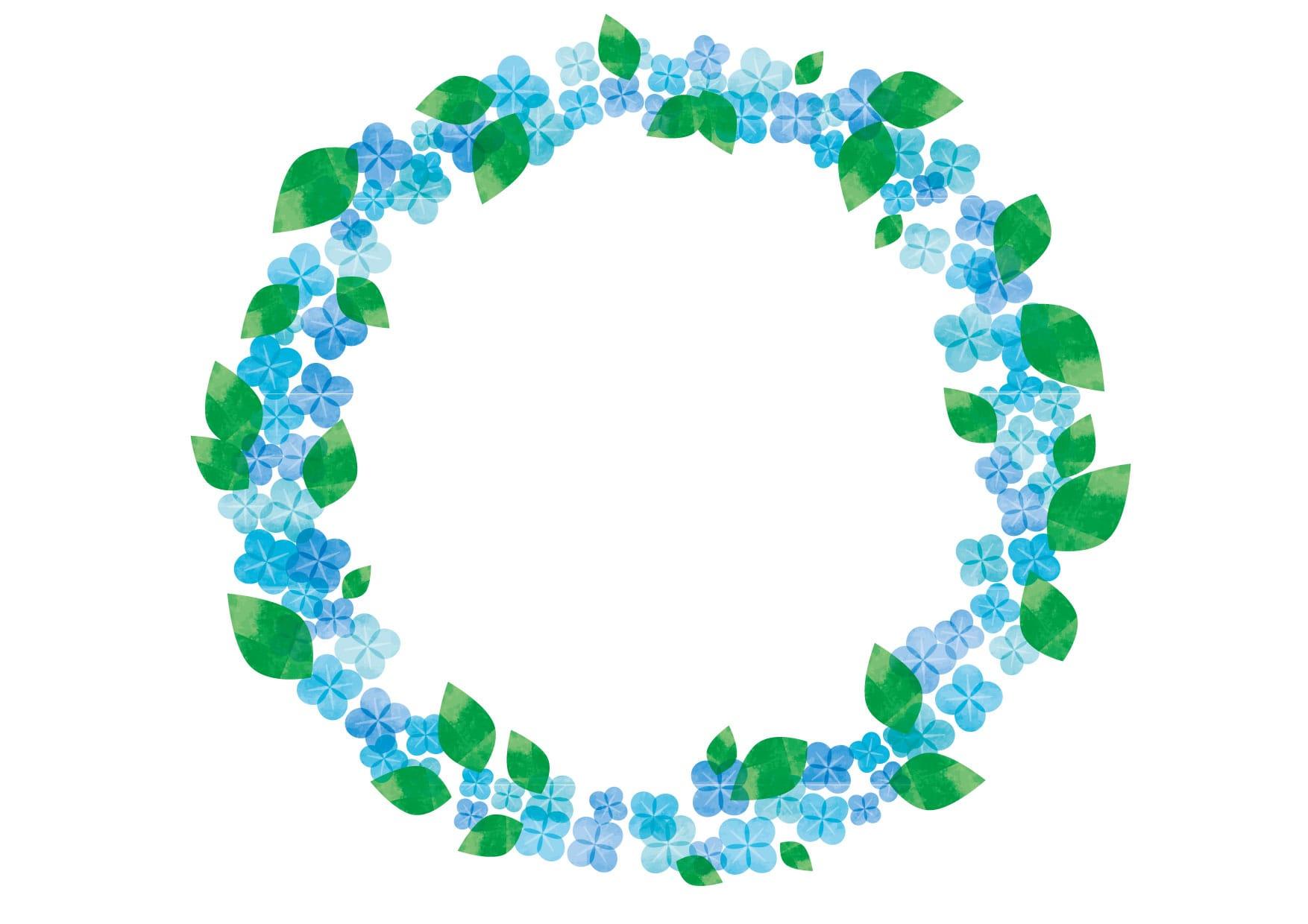 可愛いイラスト無料|あじさい 水彩 水色 円フレーム − free illustration Hydrangea watercolor light blue circle frame