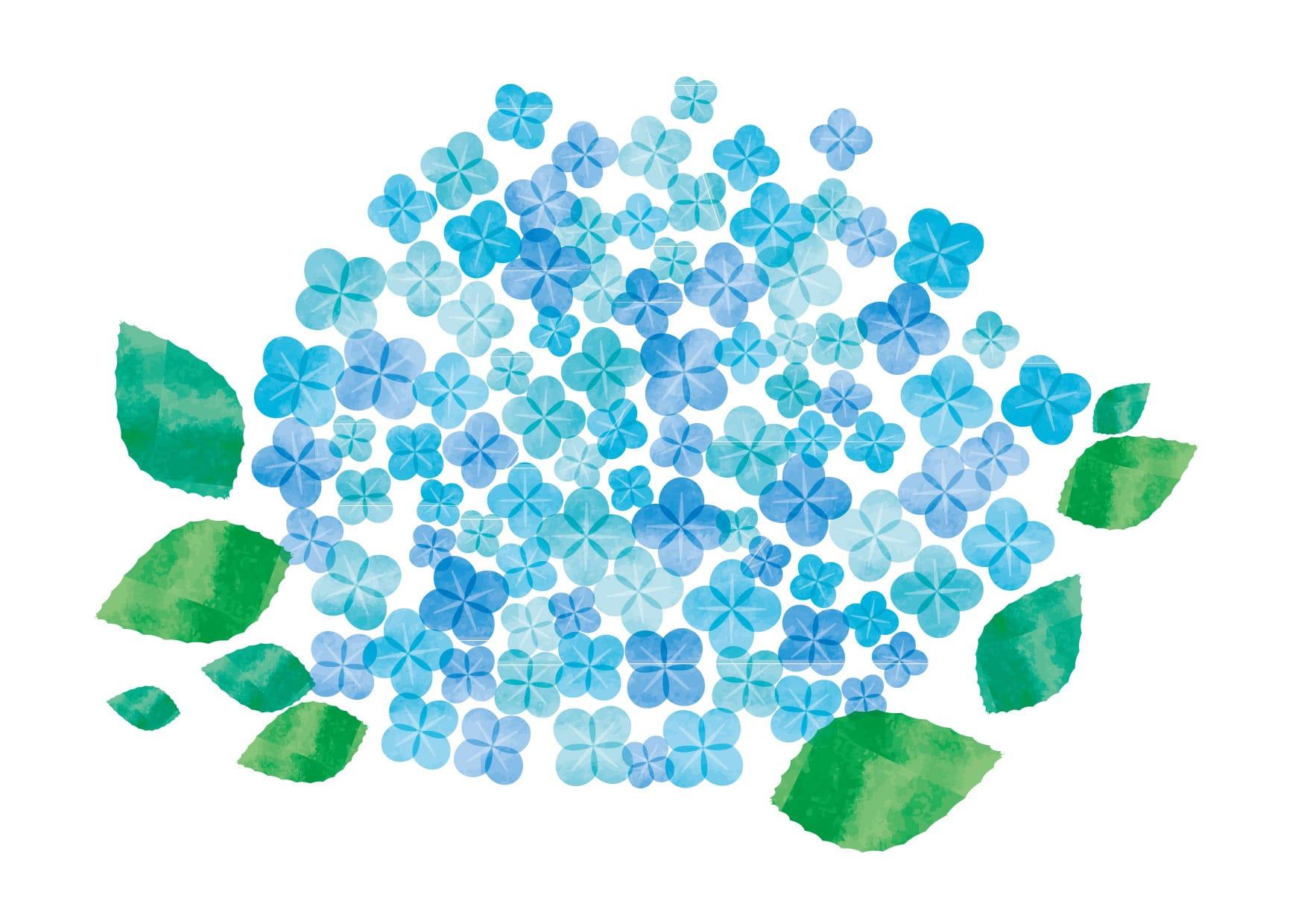 あじさい 水彩 水色 花 イラスト 無料