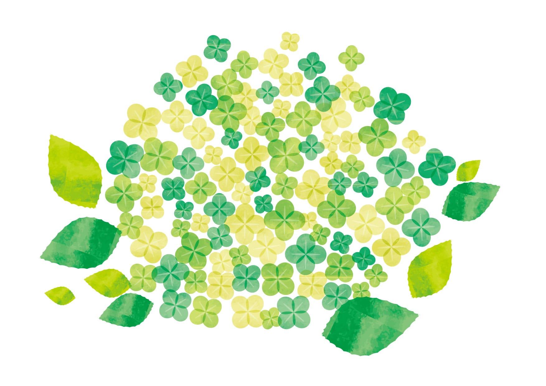 水彩 緑色 花 イラスト 無料