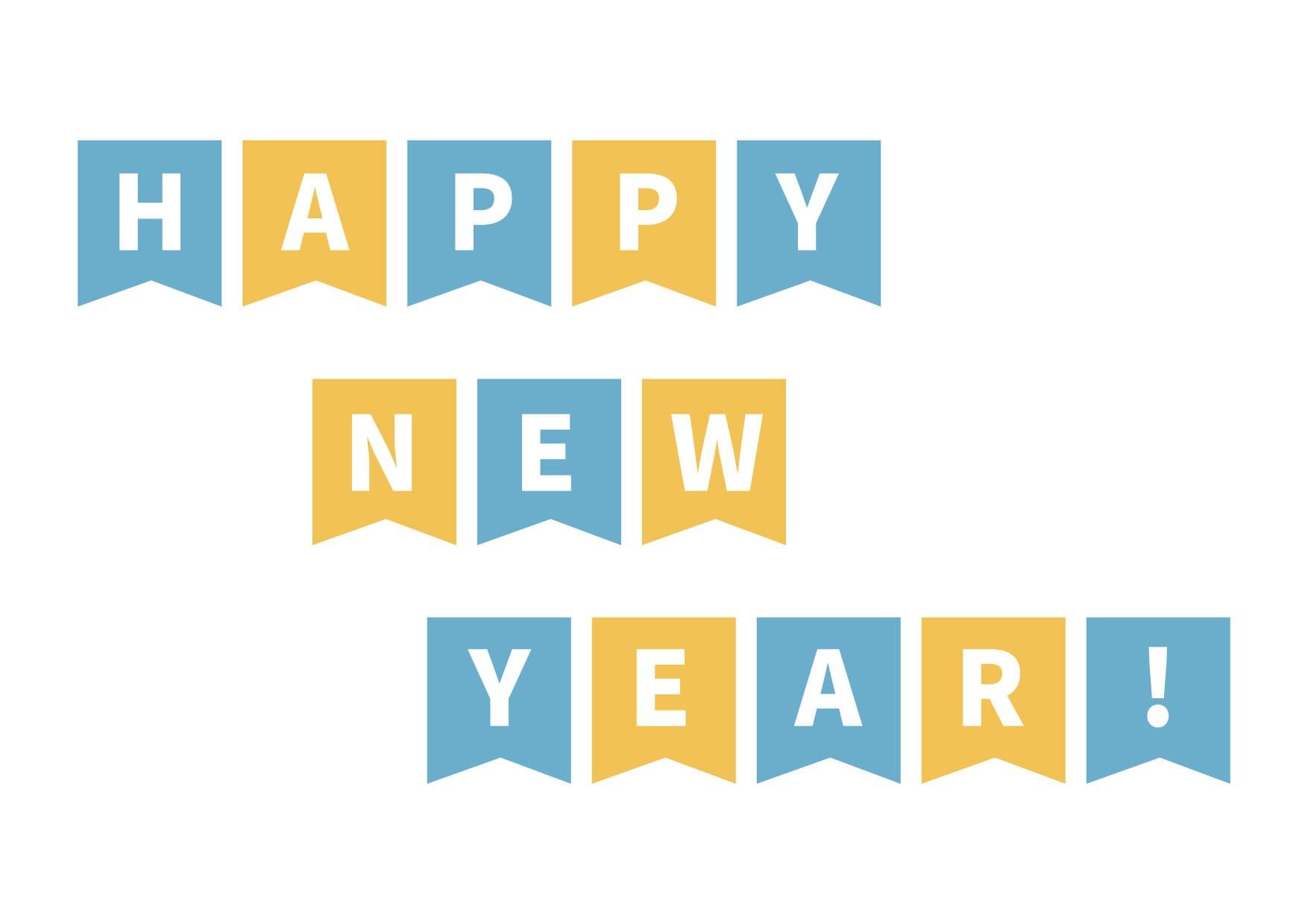 お正月イラスト無料|フラッグ 青色 − free illustration New Year flag blue