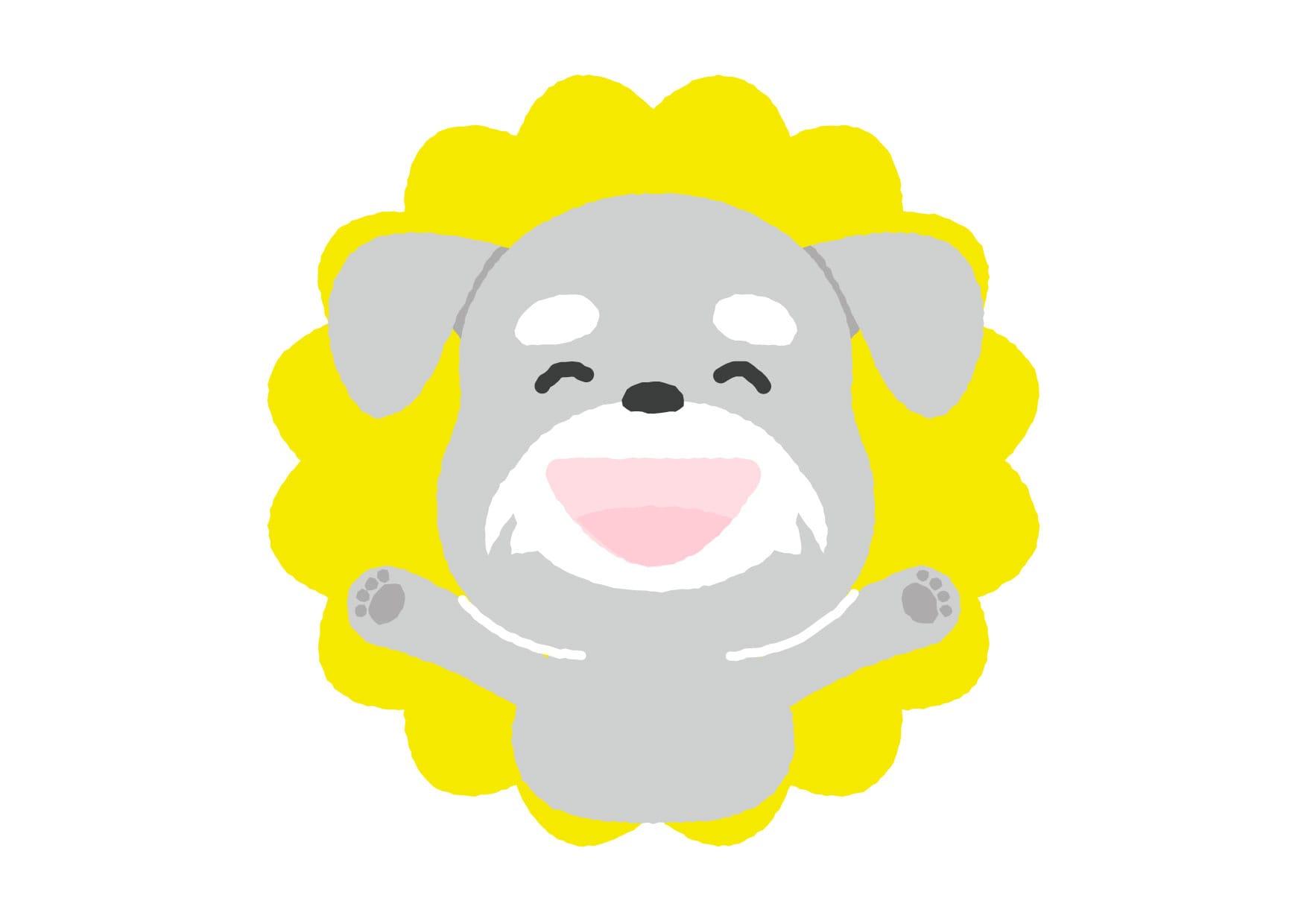 可愛いイラスト無料|犬 わーい − free illustration  Dog wow