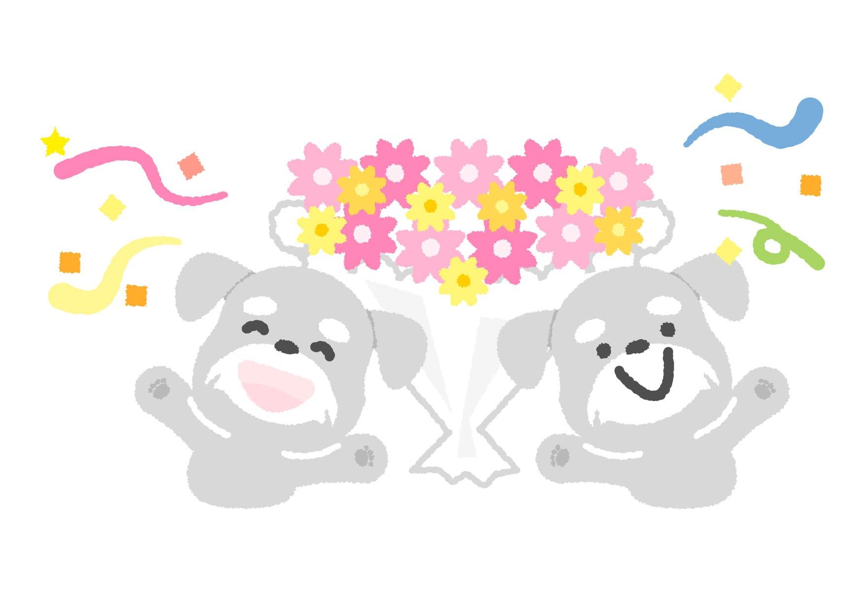 可愛いイラスト無料|犬 お祝い − free illustration  Dog celebration