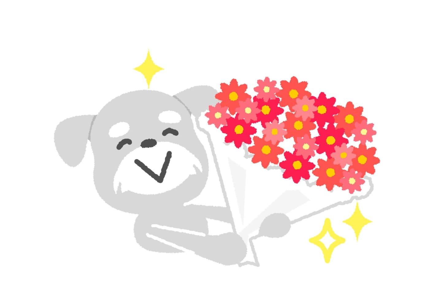 犬 花束 イラスト 無料