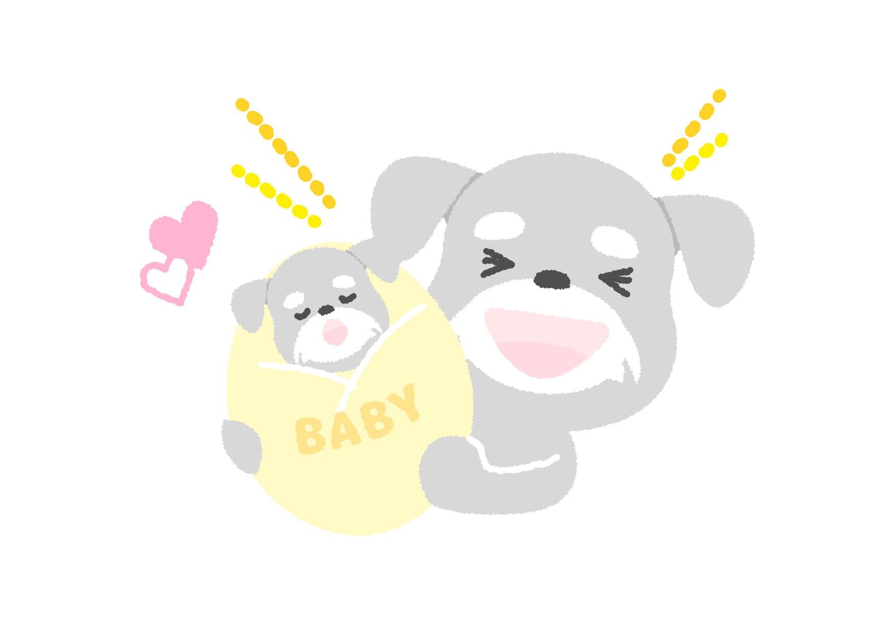 可愛いイラスト無料|犬 赤ちゃん − free illustration  Dog baby