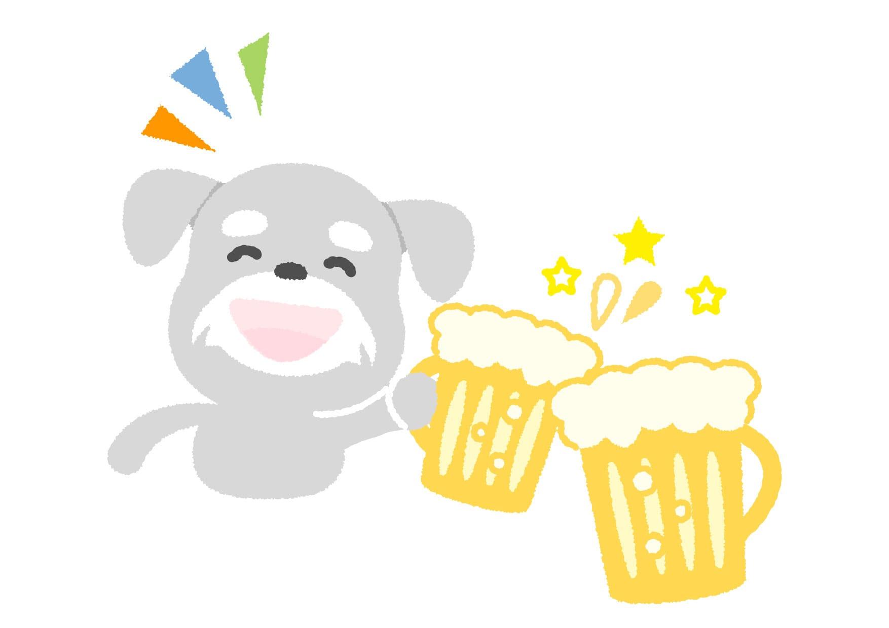 可愛いイラスト無料|犬 ビール − free illustration Dog beer