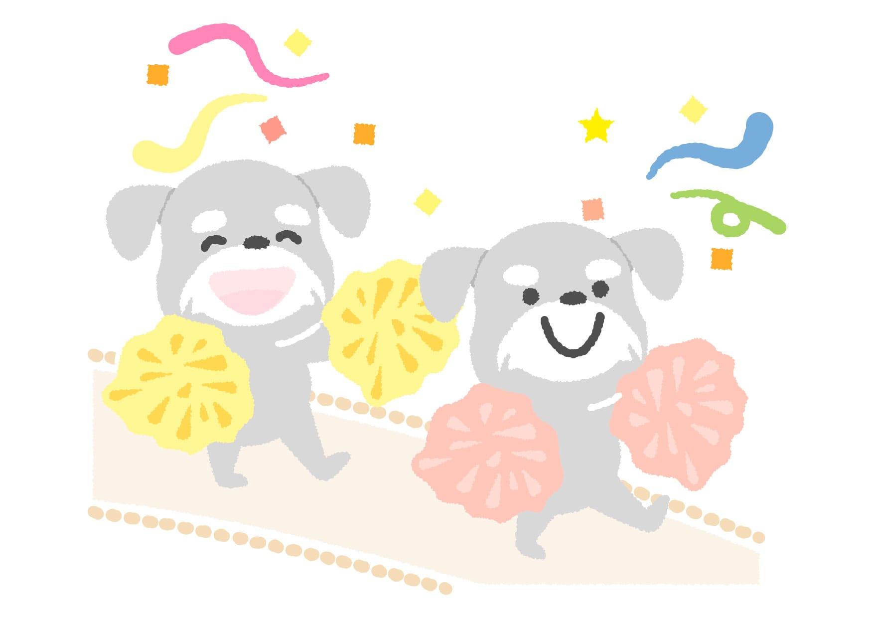 可愛いイラスト無料|犬 応援 − free illustration  Dog  Cheering