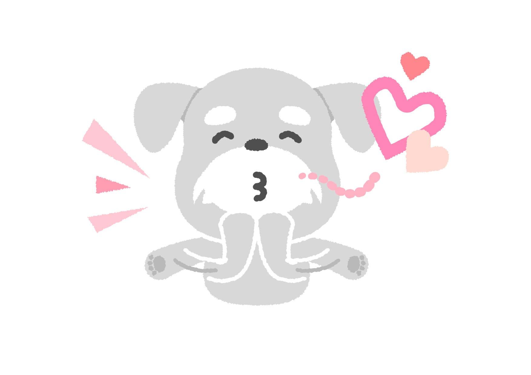 可愛いイラスト無料|犬 投げキス − free illustration  Dog throwing kiss