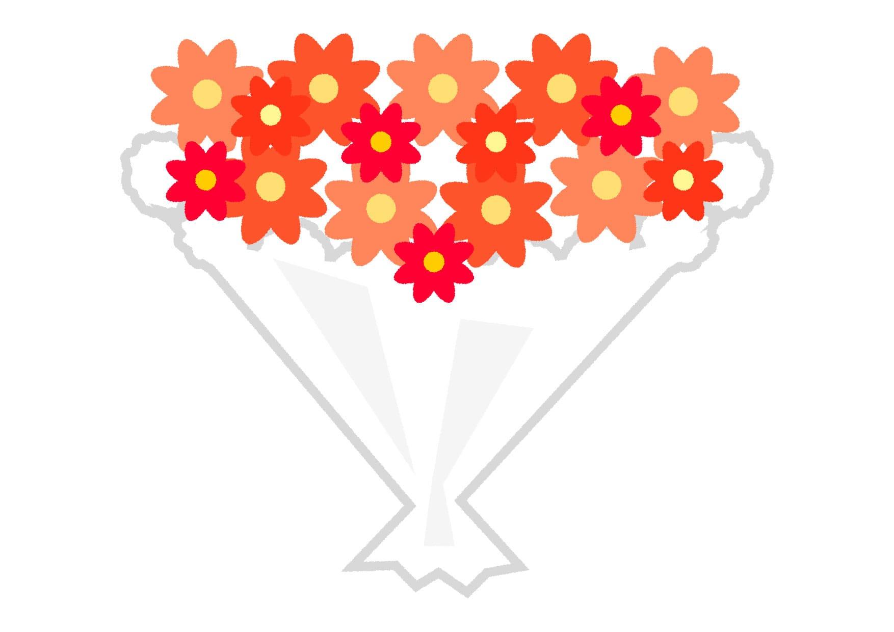 可愛いイラスト無料|花束 赤色 − free illustration  Bouquet red