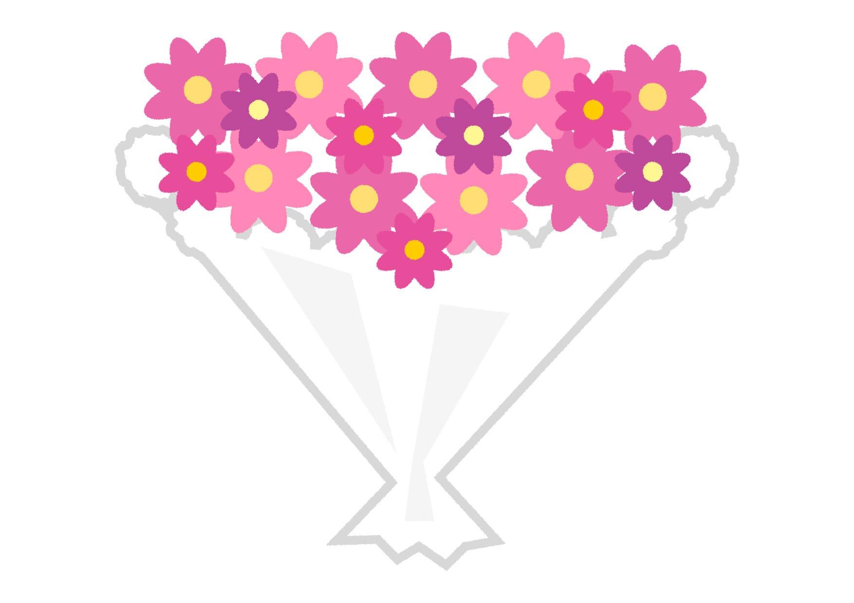 可愛いイラスト無料|花束 紫色 − free illustration Bouquet purple