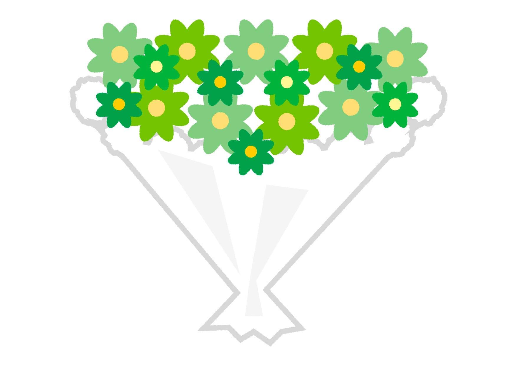 可愛いイラスト無料|花束 緑色 − free illustration  Bouquet green