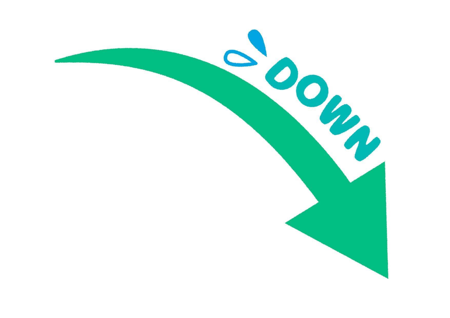 可愛いイラスト無料|矢印 DOWN 下降  緑色 − free illustration  Arrow DOWN down green