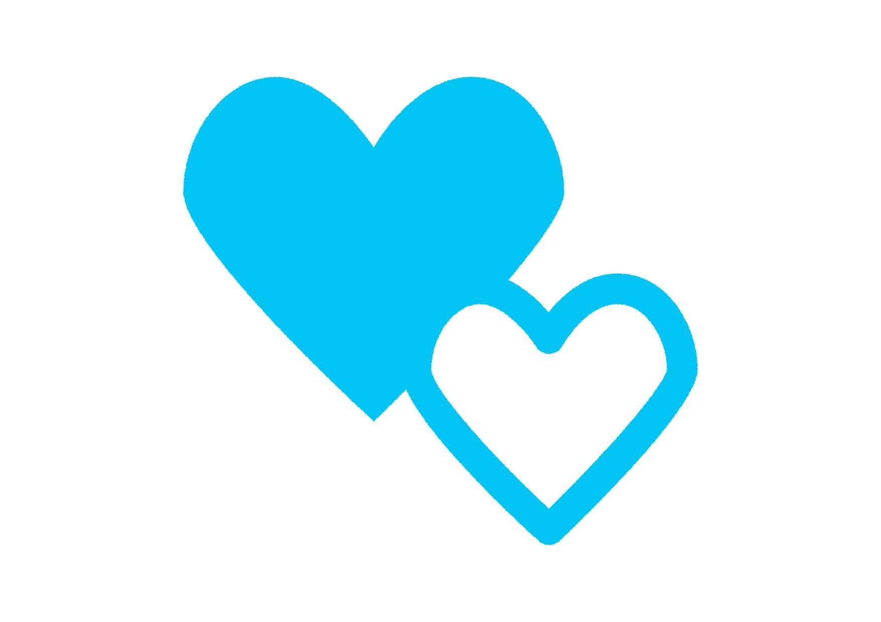 可愛いイラスト無料|ハートマーク 水色 − free illustration  Heart mark light blue