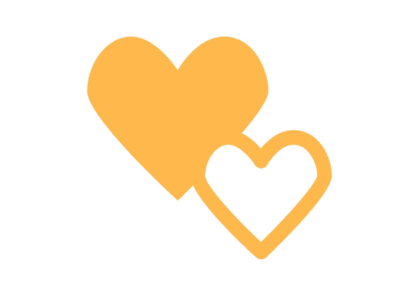 可愛いイラスト|ハートマーク 黄色 − free illustration  Heart mark yellow
