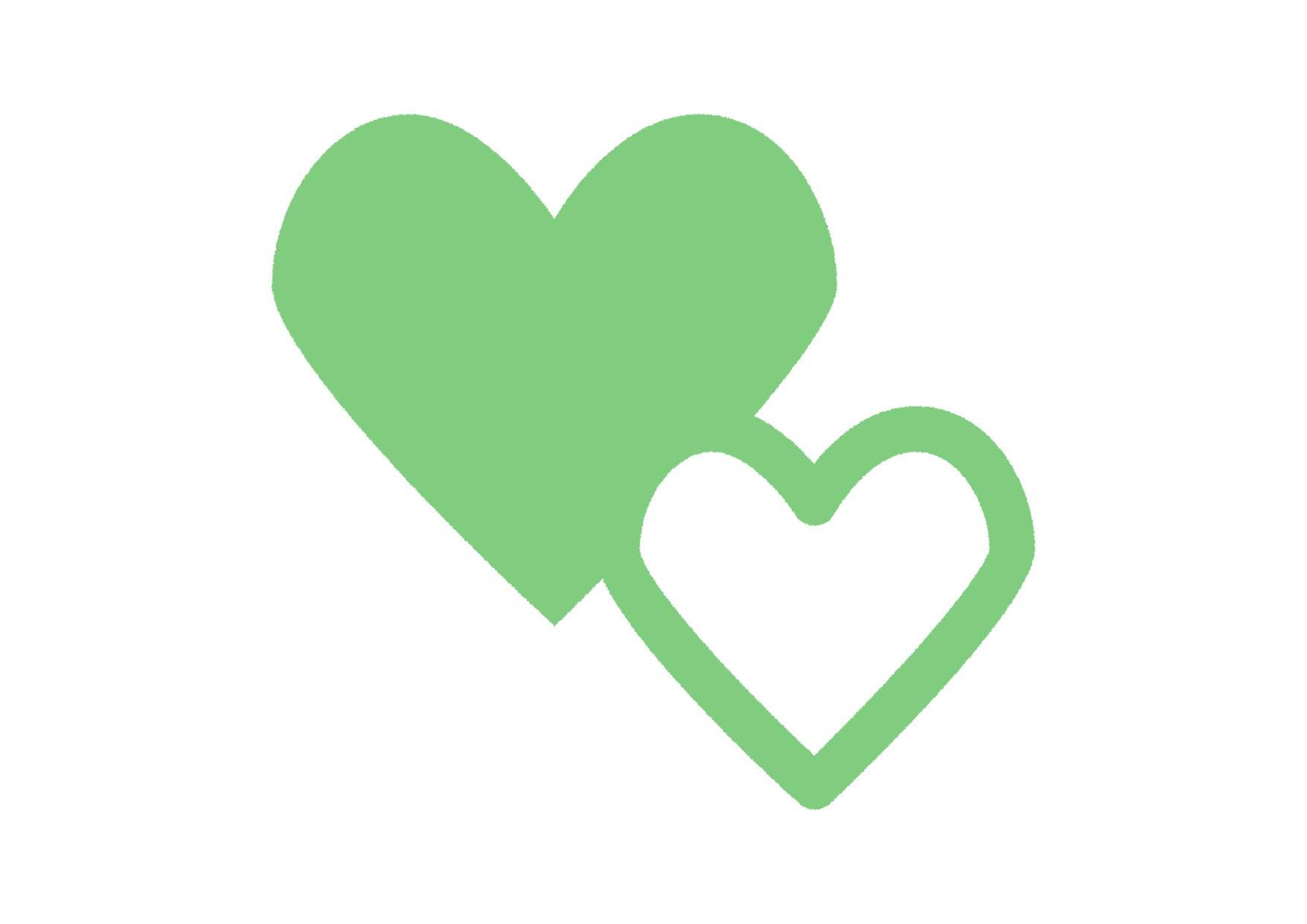 可愛いイラスト無料|ハートマーク 緑色 − free illustration Heart symbol green