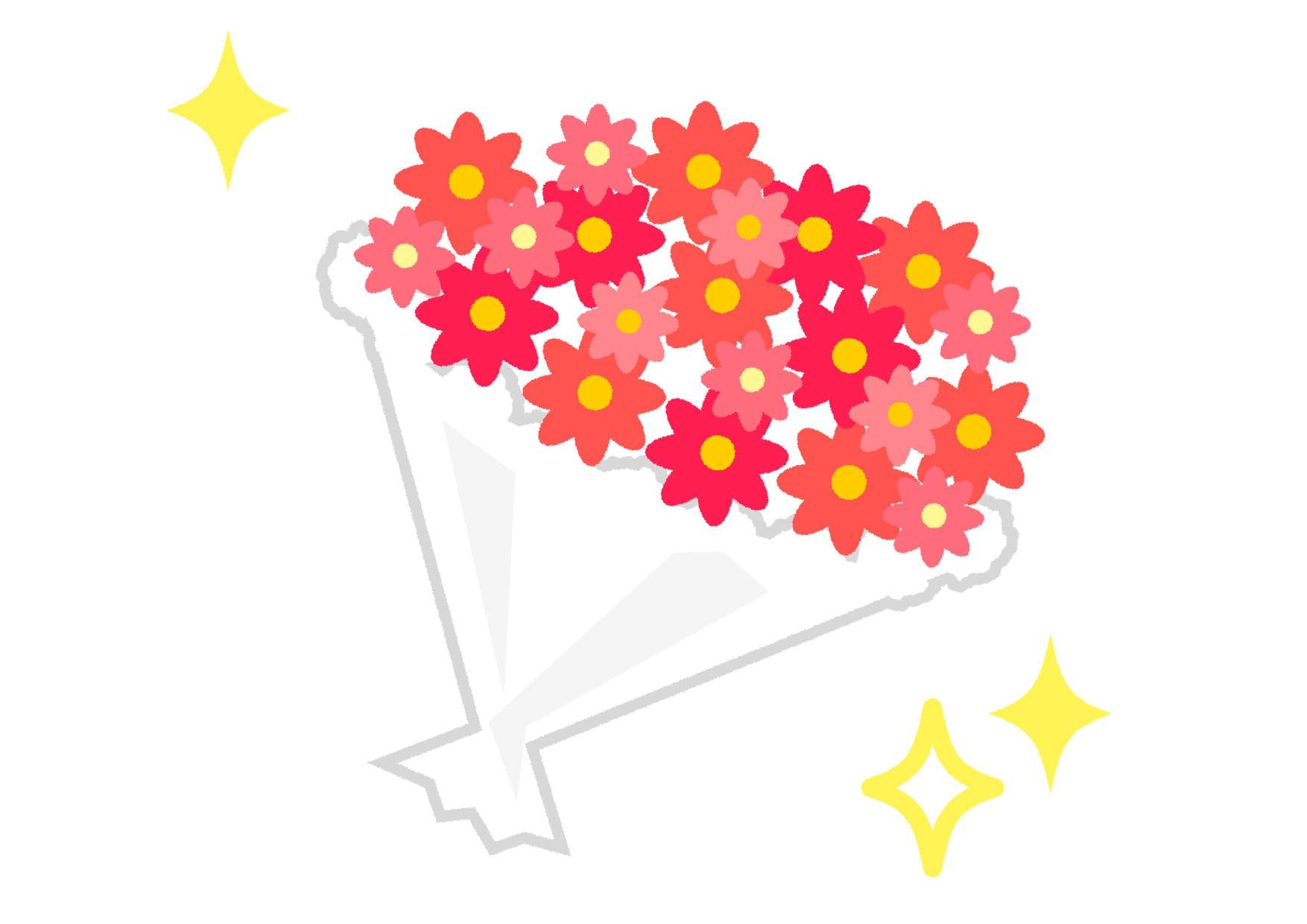 可愛いイラスト無料|花束 赤色 キラキラ − free illustration  Bouquet red glitter