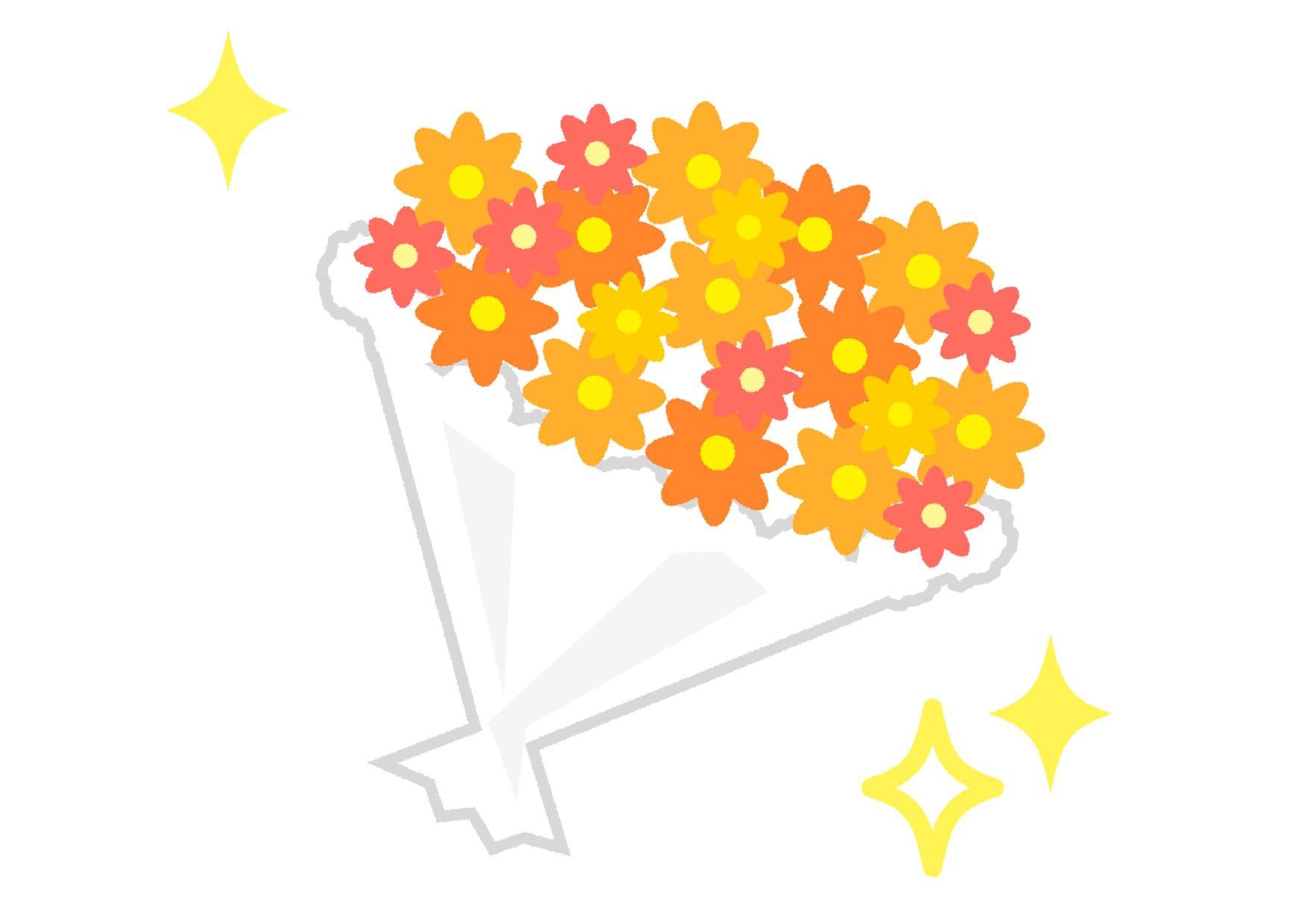 可愛いイラスト無料|花束 黄色 キラキラ − free illustration  Bouquet yellow glitter