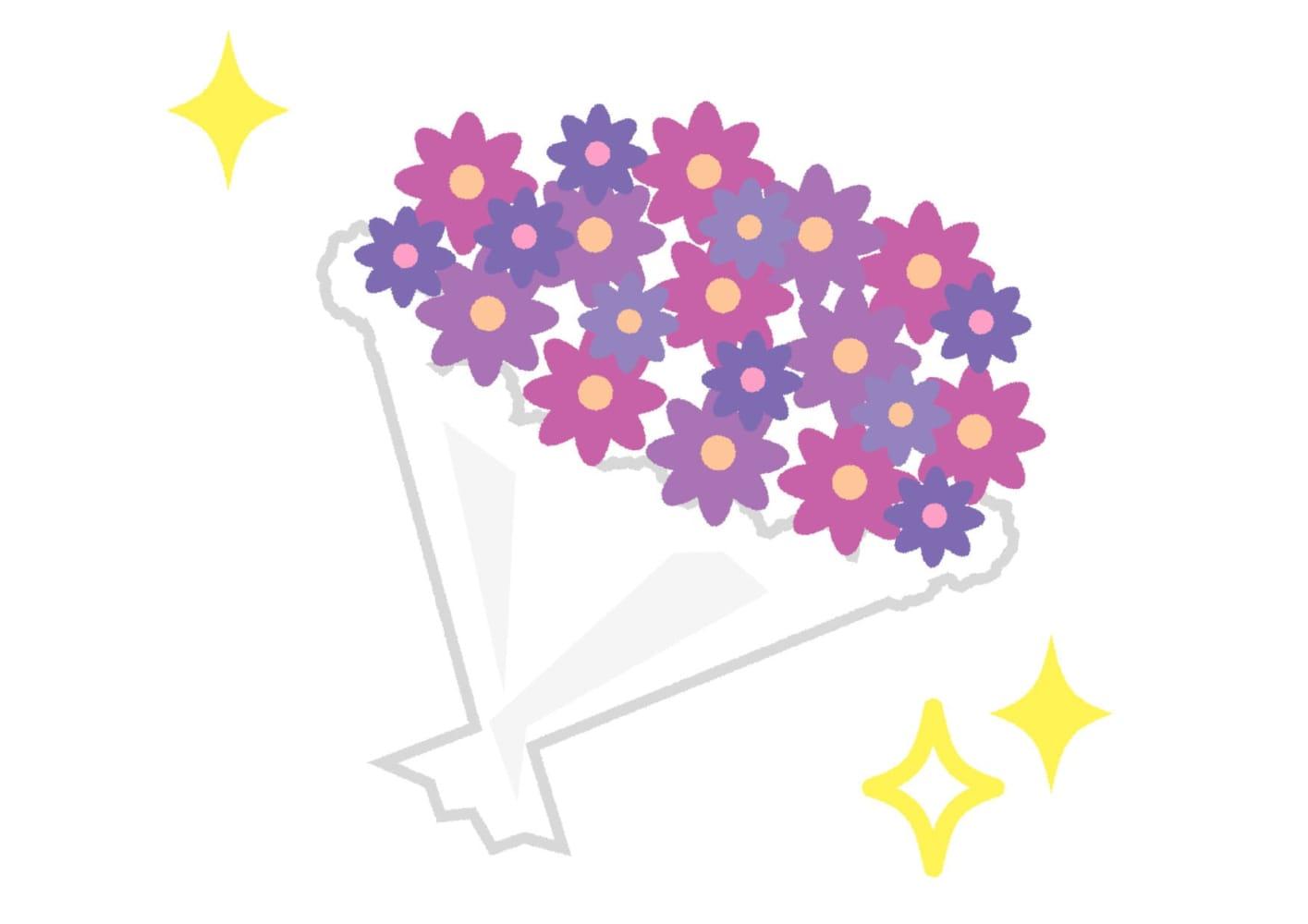 花束 紫色 キラキラ イラスト 無料
