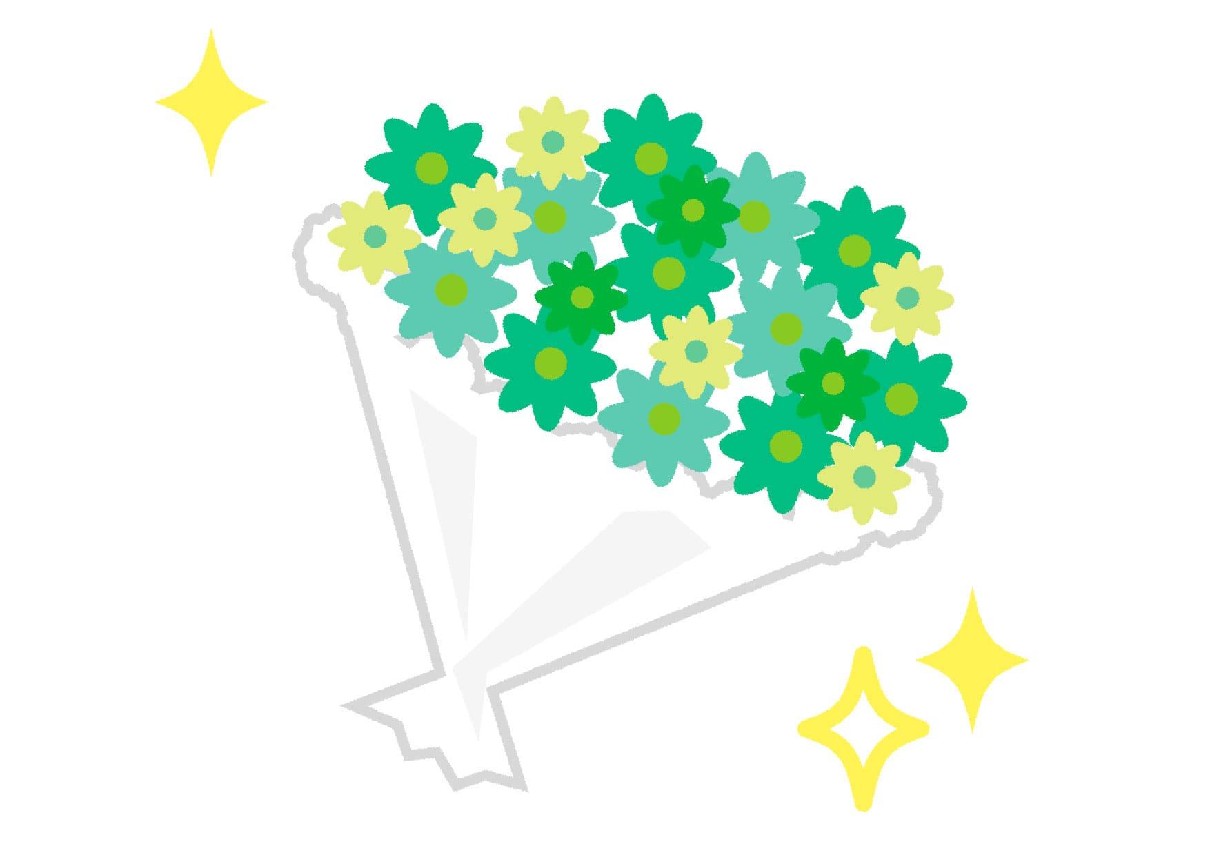 可愛いイラスト無料|花束 緑色 キラキラ − free illustration  Bouquet green glitter