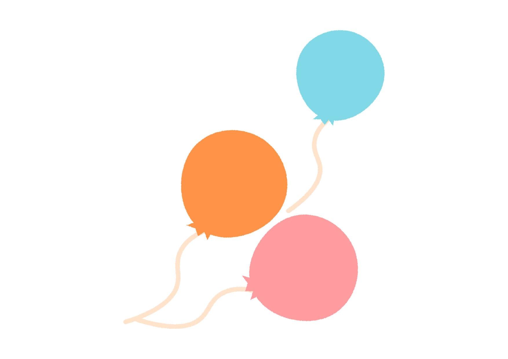 可愛いイラスト無料 風船 カラフル Free Illustration Balloons