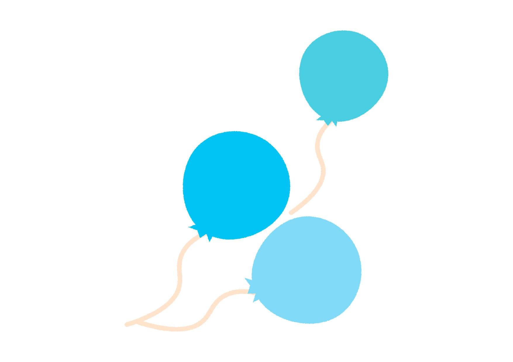 可愛いイラスト無料|風船 青色 − free illustration Balloon blue