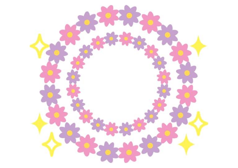 花 フレーム 紫色 キラキラ イラスト 無料 無料イラストのイラスト
