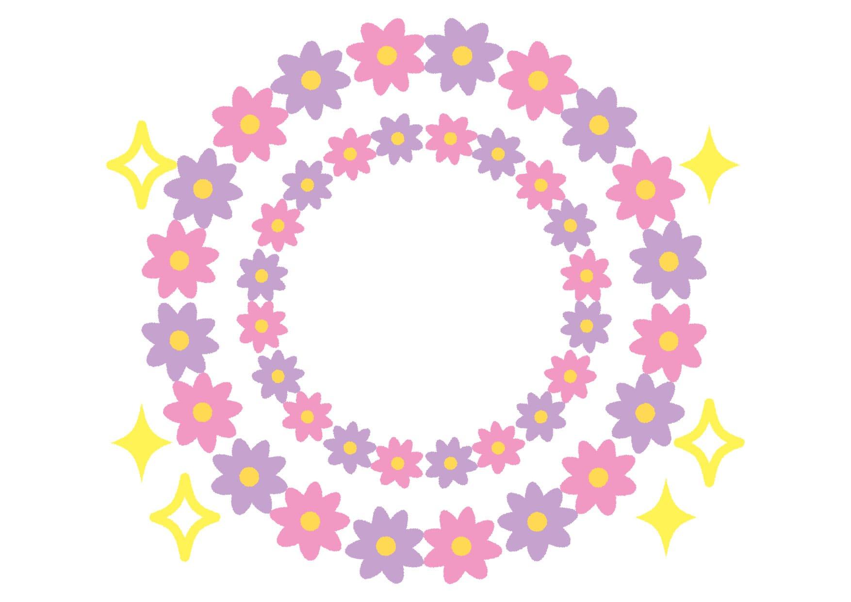 花 フレーム 紫色 キラキラ イラスト 無料