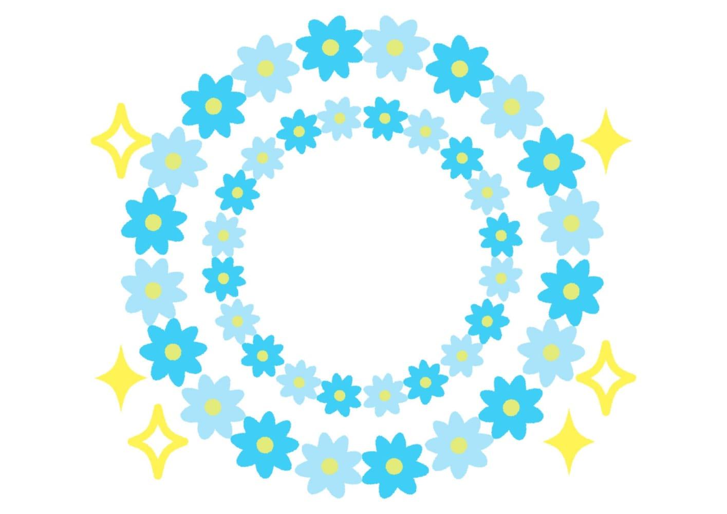 花 フレーム 水色 キラキラ イラスト 無料