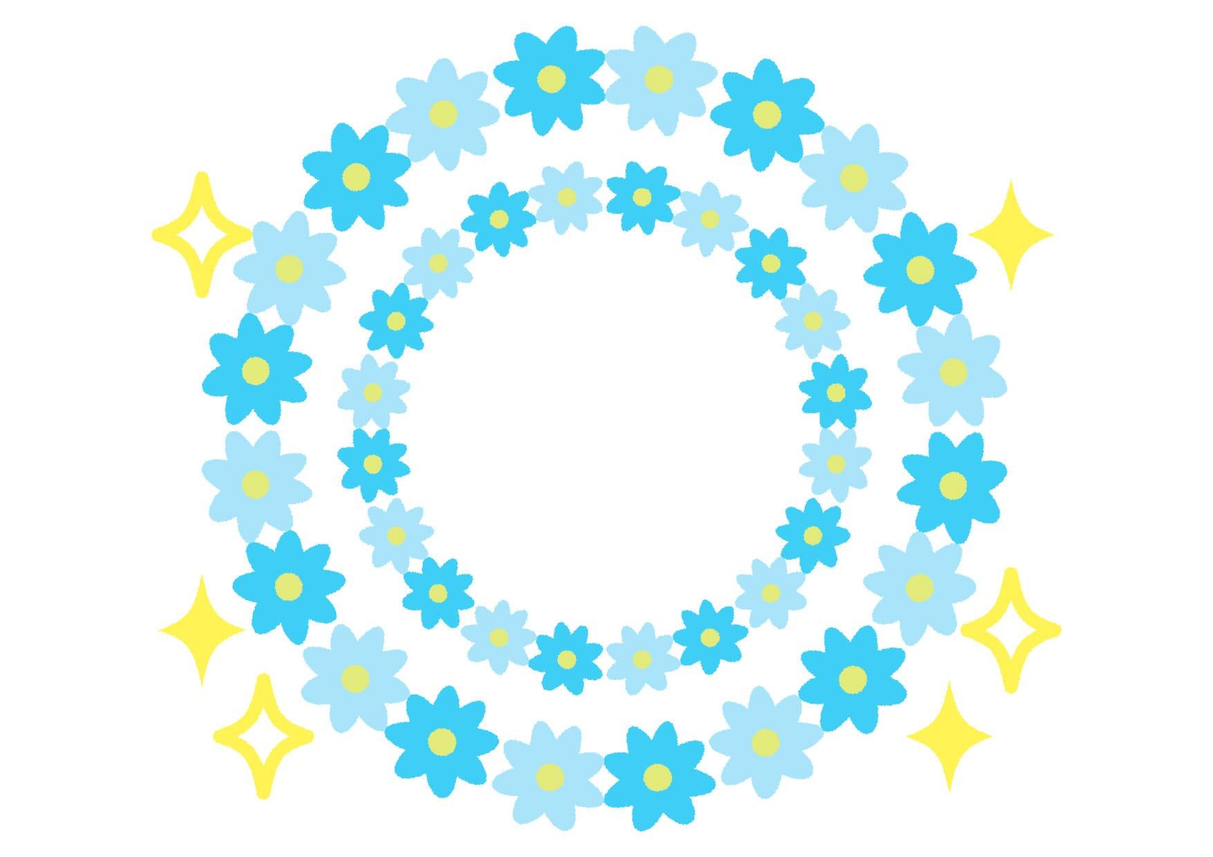 可愛いイラスト無料|花 フレーム 水色 キラキラ − free illustration Flower frame light blue glitter