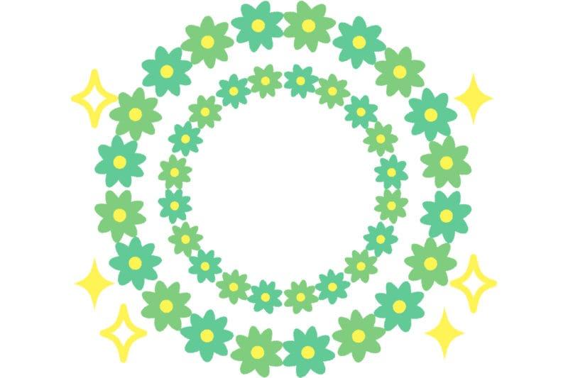 花 フレーム 緑色 キラキラ イラスト 無料