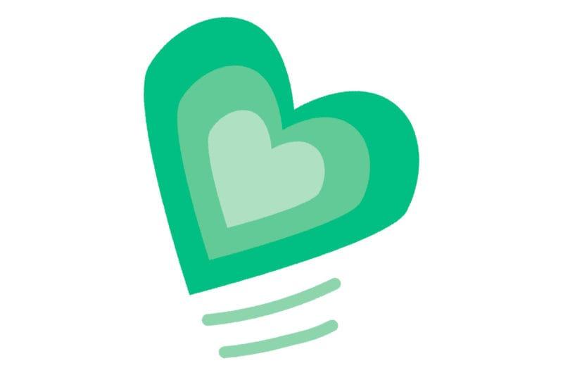 グラデーション ハート 緑色 イラスト 無料