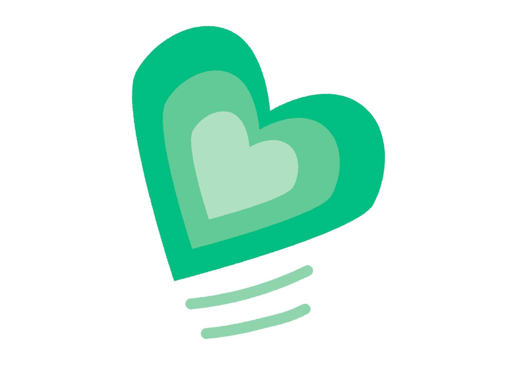 可愛いイラスト無料|グラデーション ハート 緑色 − free illustration  Gradient heart green