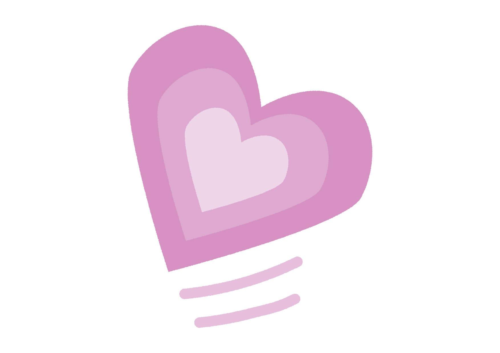 可愛いイラスト無料|グラデーション ハート 紫色 − free illustration Gradient heart purple