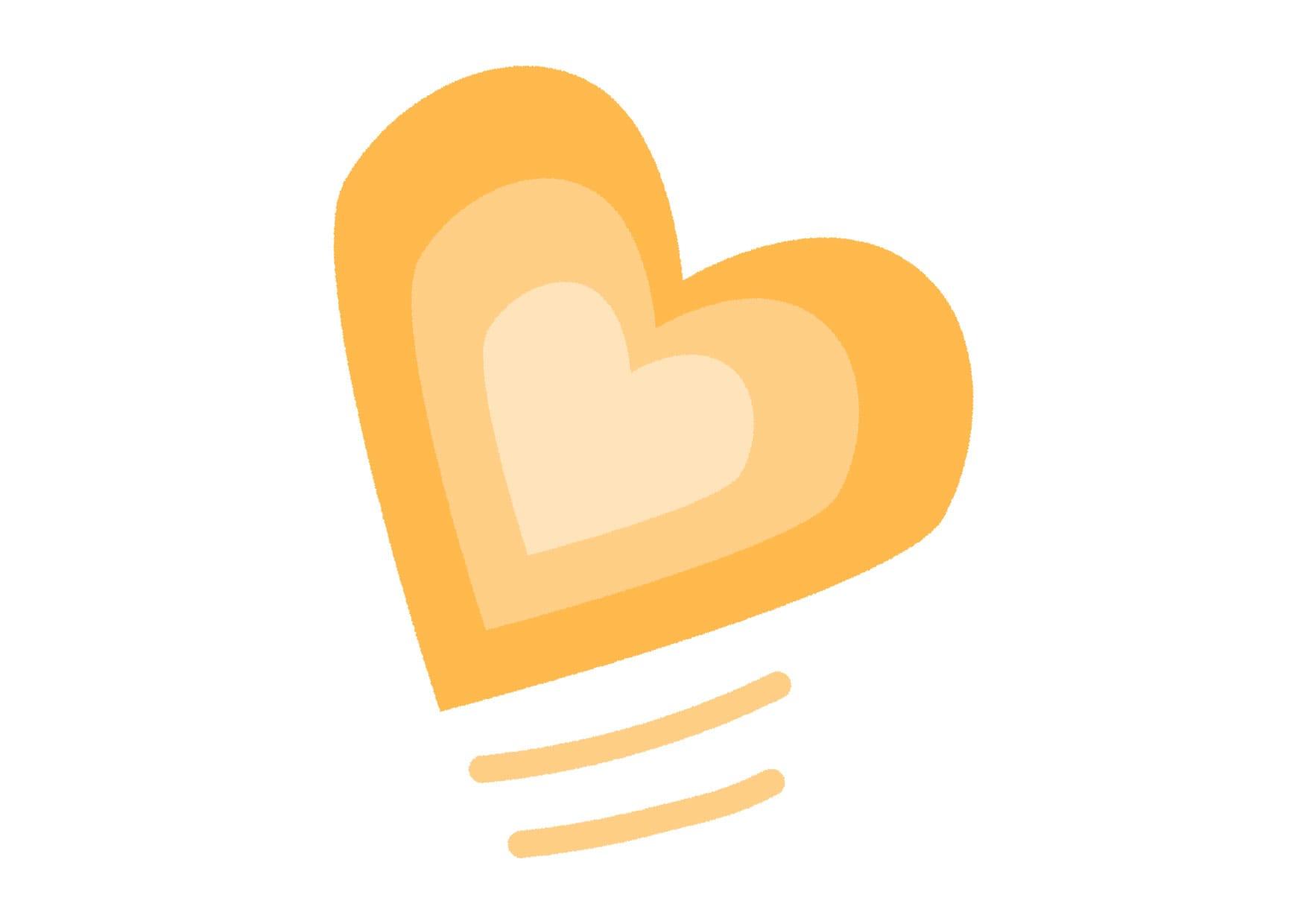 可愛いイラスト無料|グラデーション ハート 黄色 − free illustration  Gradient heart yellow