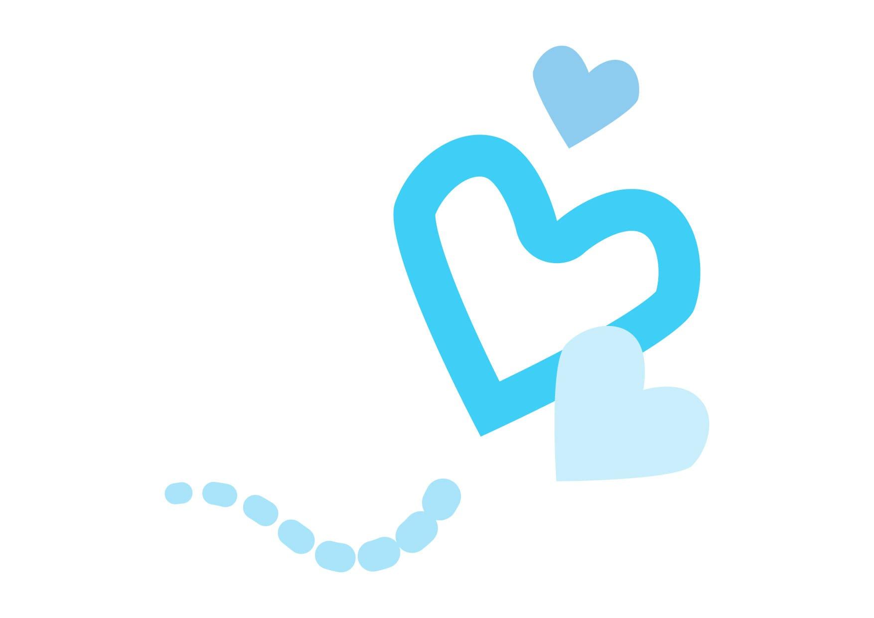可愛いイラスト無料|ハート 飛ぶ 水色 − free illustration  Heart fly light blue